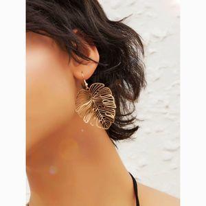 Dainty Gold Hollow Leaf Drop Statement Earrings